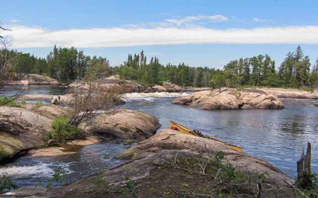 Ankuasi Falls - canoe at end of short portage
