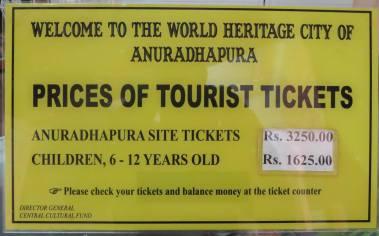 Anuradhapura entry ticket