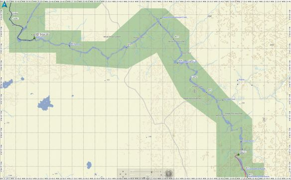 Garmin Basecamp map of Day 14 route on the Bloodvein