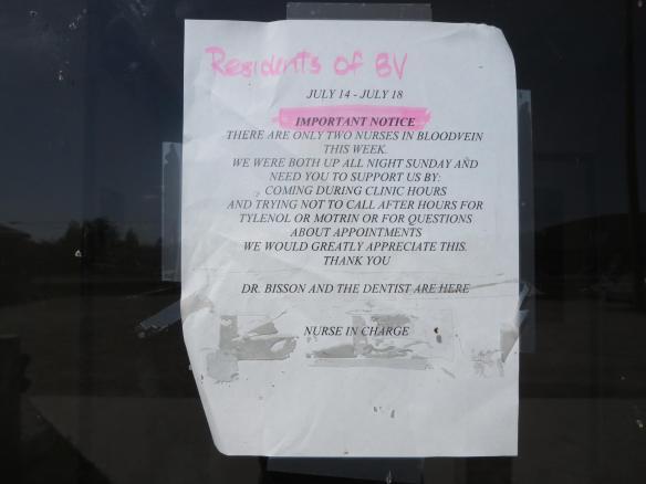 Bloodvein Nursing Station window message