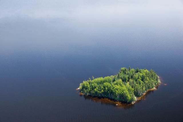 RGB - Green Island in Blue water on Red Lake