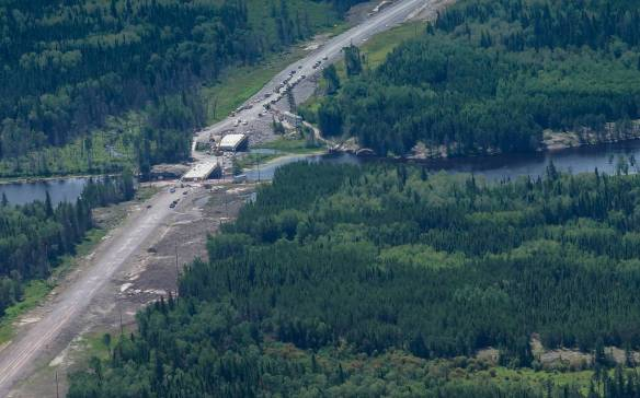 The Bloodvein Bridge under construction - July 2014