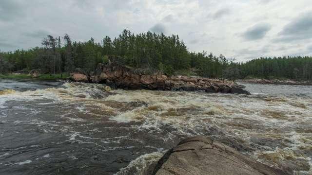 "the Bloodvein's ""Island Chutes"" Rapids"