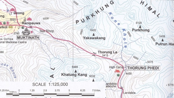 Thorung Phedi to Muktinath Map