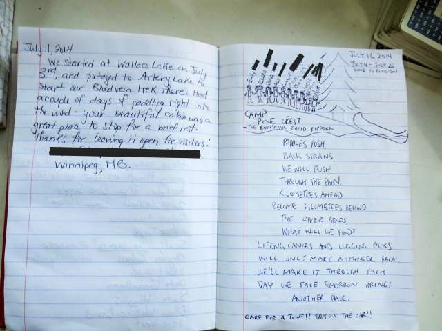 Visitors' Journal in the cabin