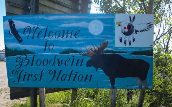 Welcome to Bloodvein sign as you come down the ferry docking strip