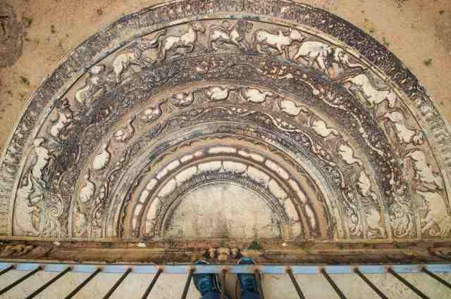 Abhayagiri moonstone with elaborate carving