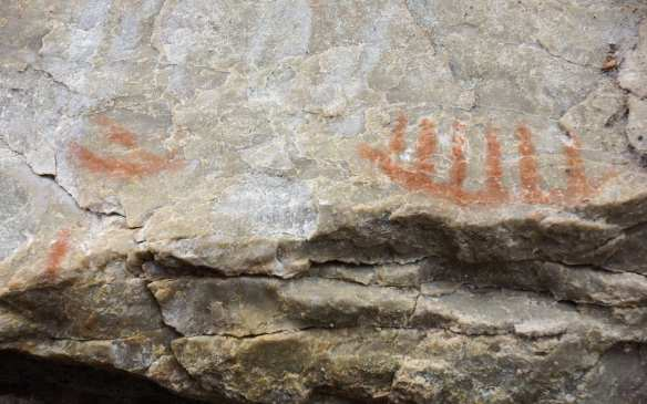 canoe pictograph - Diamond Lake