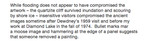 Conway on Diamond Lake pictograph vandalism