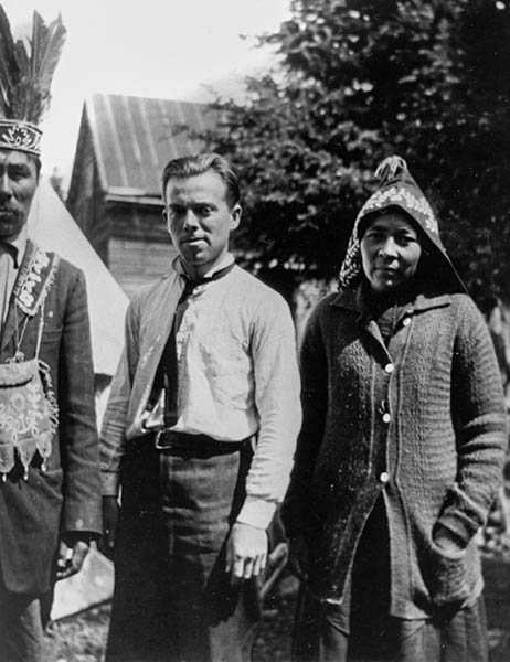 Speck with Timagami band members on Bear Island in 1913