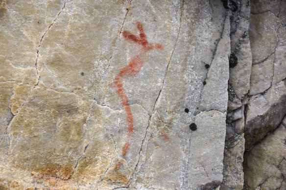 horned snake pictograph at Diamond Lake