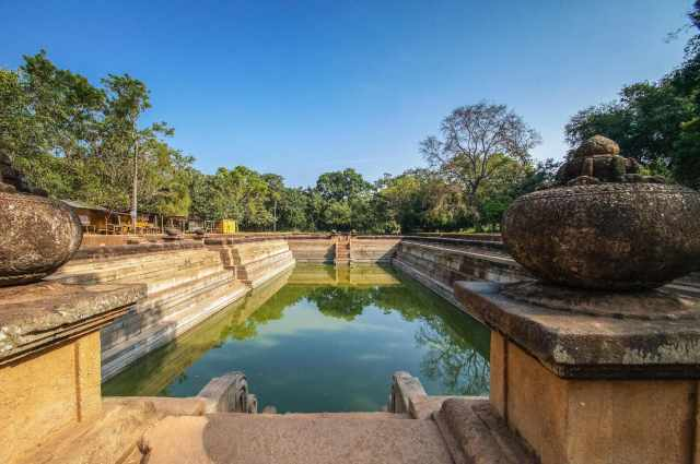 one of the two bathing ponds at Abhayagiri Monastery in Anuradhapura