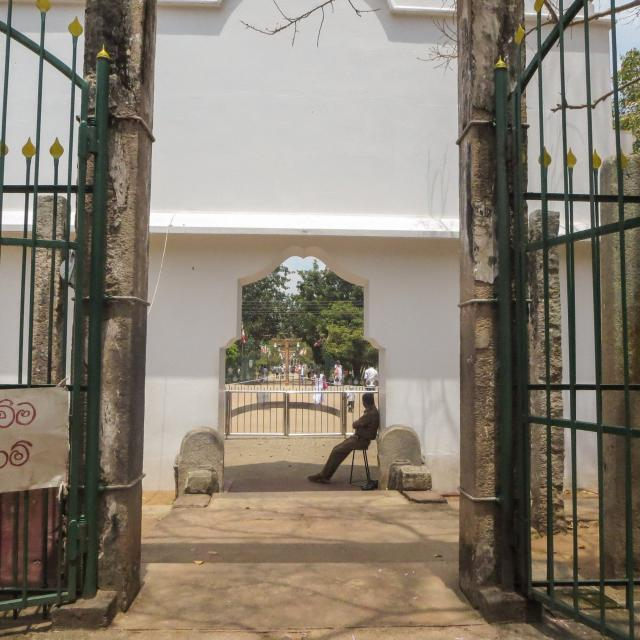 THE GUARDHOUSE AT THE ENTRANCE OF the Sri Maha Bodhi complex