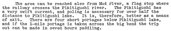 1939 description of the Pikitigushi River below the Lake