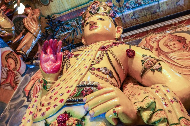close-up of Buddha figure in abhaya (%22fear not%22) mudra