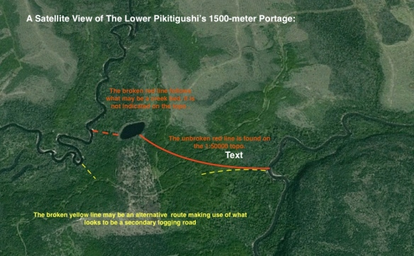 The Lower Pikitigushi's 1500 meter  Long Portage - Satellite Shot