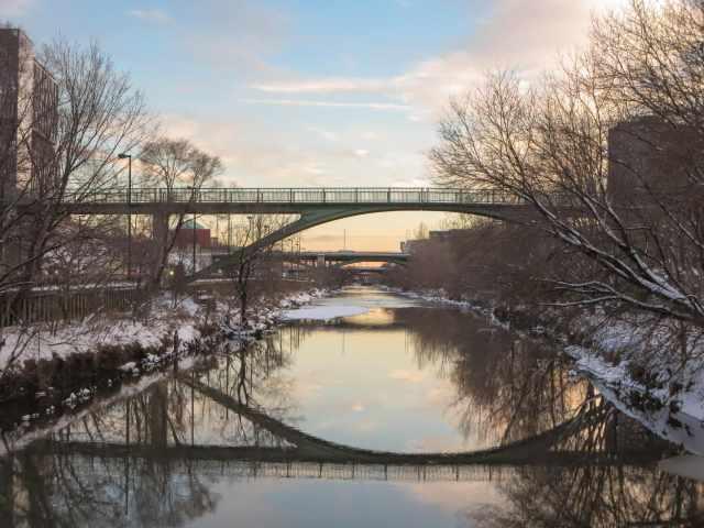 the Riverdale Footbridge as dusk approaches