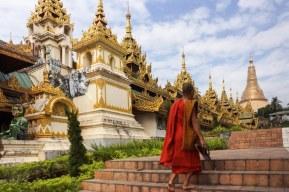 14. monk on outside of eastern entrance to Shwedagon
