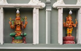18. detail from Hindu gopuram on Yangon's Anarawtha Road