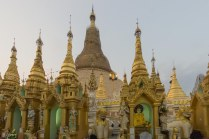 24. Shwedagon - the central stupa draped in grass mats and bamboo for reguilding purposes