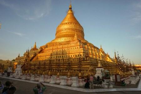 30. Bagan's Shwezigon Pagoda at dusk