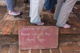 38. pilgrims in bare feet at Bagan temple