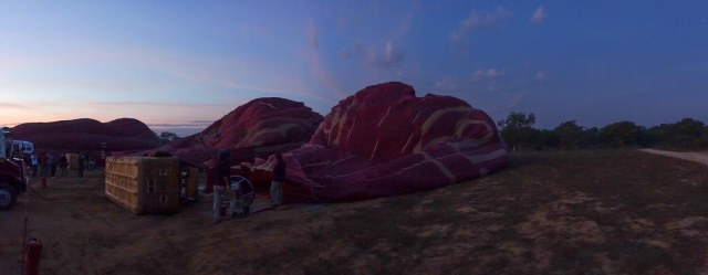 Bagan at dawn - balloons being readied for the ride