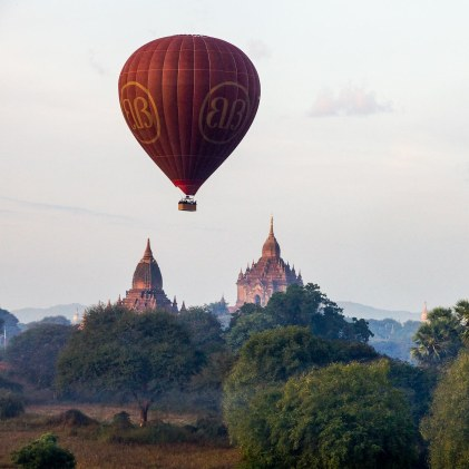Bagan balloons and temples in the morning mist
