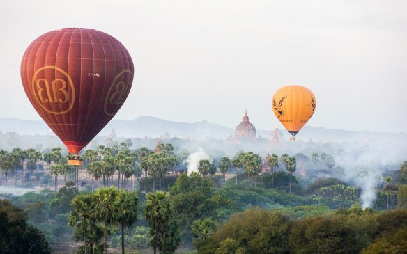 balloons from two of the three companies floating over Bagan