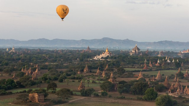 a morning view of Old Bagan from above