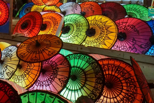 lacquered umbrellas in Nyaung-U