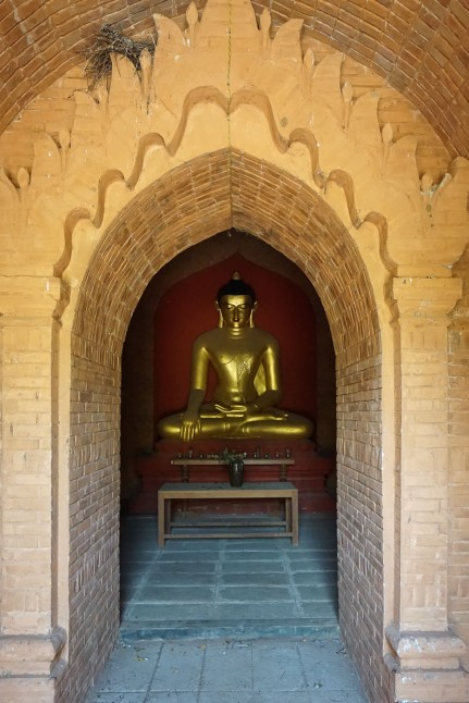 recently repainted inner shrine statue in Bagan