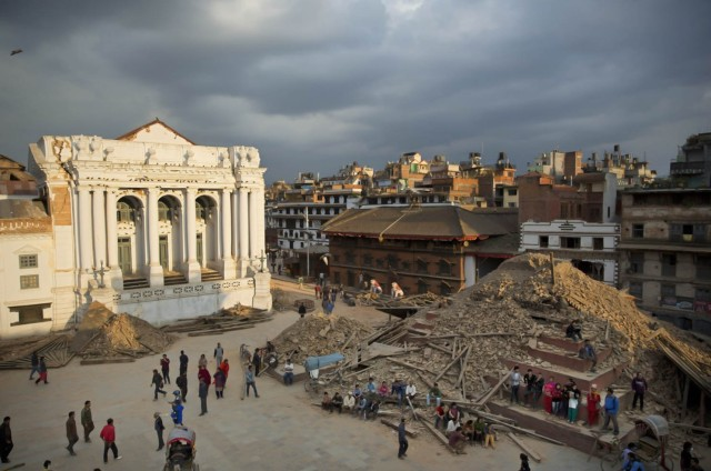 A.P . photo of Kathmandu's Trailokya Mohan Narayan Temple  after the quake