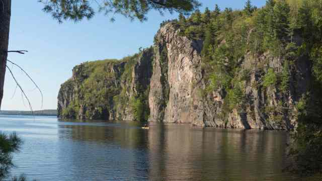 a paddler passing Old Walt N of Mazinaw Narrows