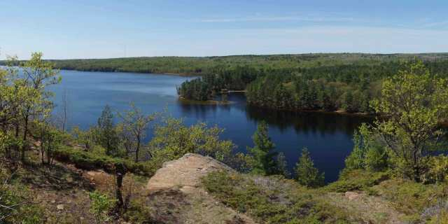 a view of the Lagoon and lower Mazinaw Lake view from the top of Mazinaw Rock