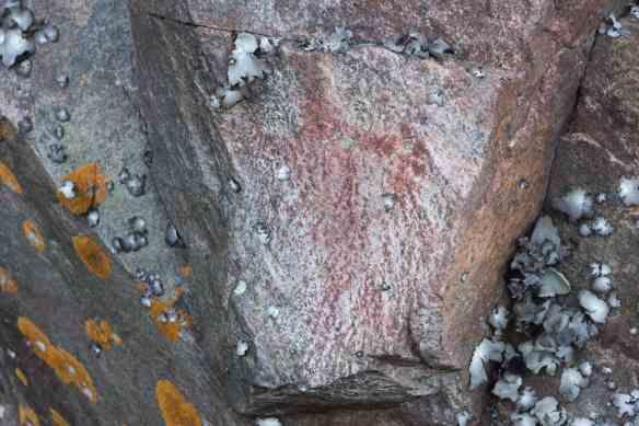 Anishinaabe shaman with medicine bag on Mazinaw Rock?