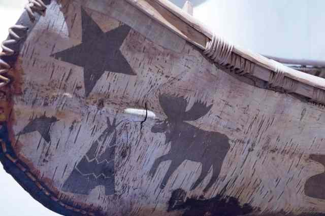 birch bark canoe detail decoration