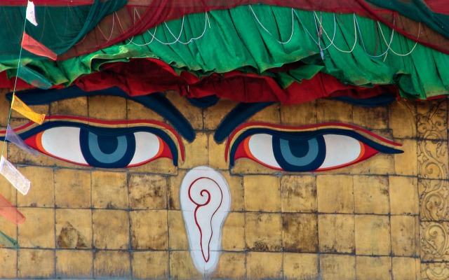 Bodhnath - close up of eyes