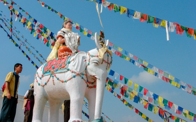 Bodhnath north end elephant close up