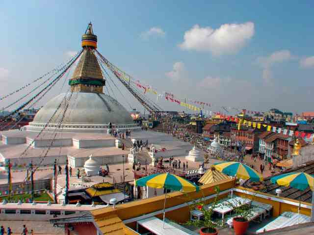 Boudhanath - the view from the Stupa View Terrace