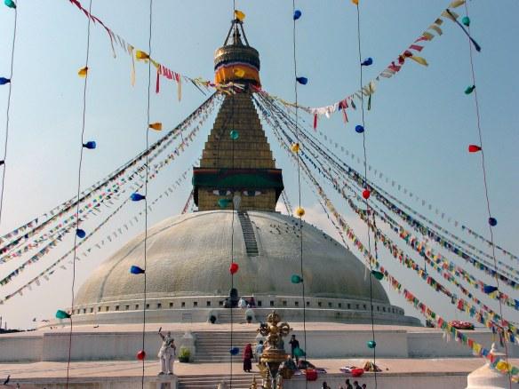 Bodhnath with 108 buddha niches around base