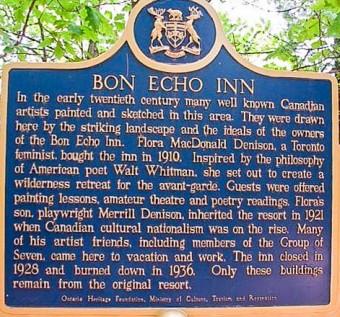Bon Echo Inn Plaque