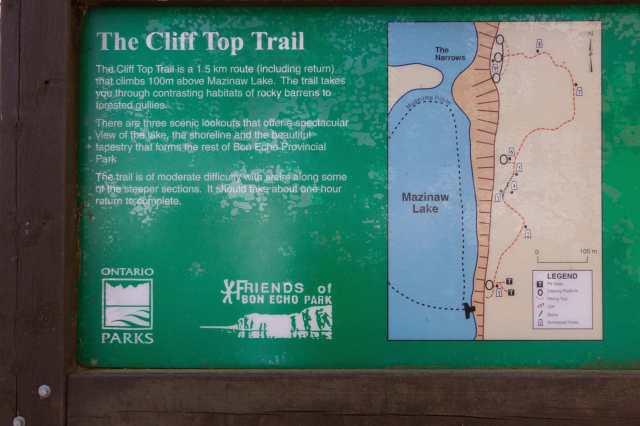 Mazinaw Cliff Top Trail info board