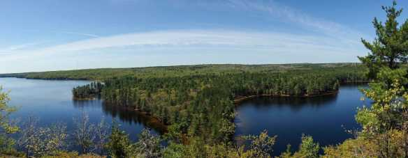 Cliff top view of Mazinaw Lake with the Narrows below