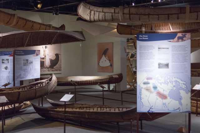 Dene birch bark canoes