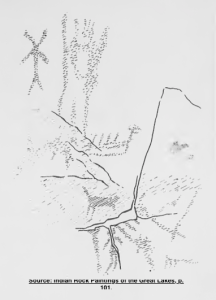 Dewdney sketch of the above rock face