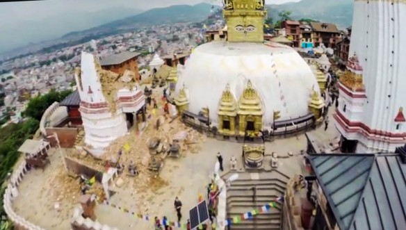 image from CBC news report on Nepal after the quake