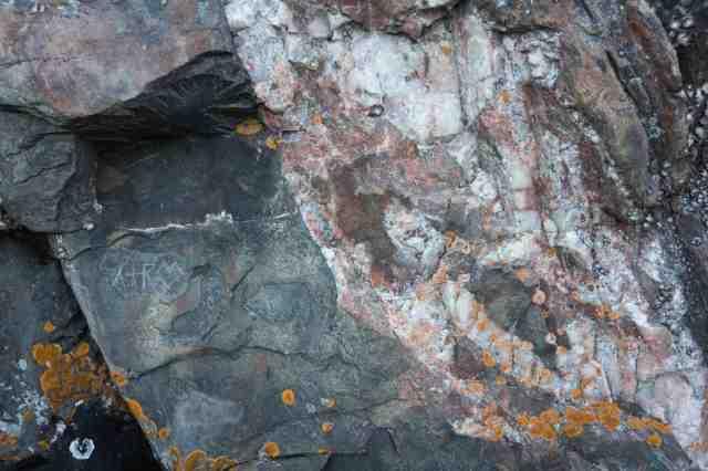 initials scratched onto Mazinaw Rock