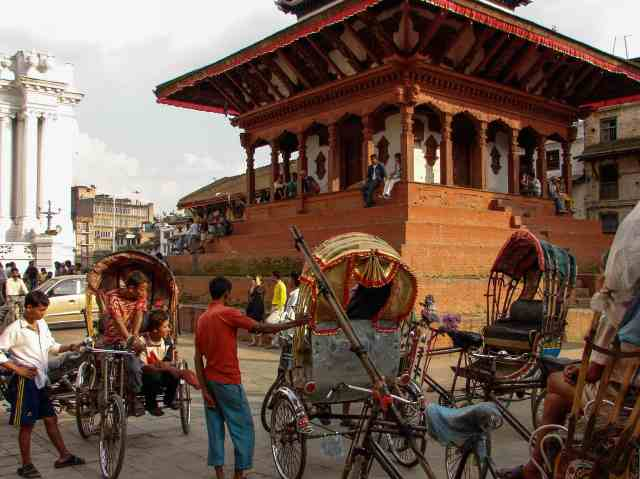 Kathmandu- rickshaw drivers at rest by the Trailokya Mohan Narayan Temple