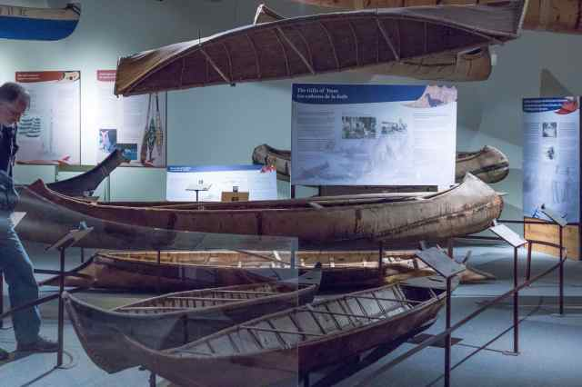 overview of display of various canoe types